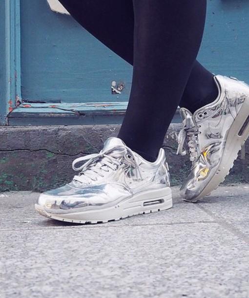 0a7a0a672d7d shoes air max nike nike shoes nike sneakers nikes silver metallic metallic  shoes sneakers white