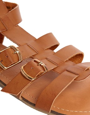 New Look Wide Fit | New Look Wide Fit Multi Strap Hickery Gladiator Flat Sandals at ASOS