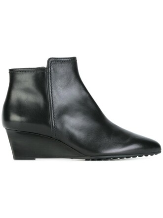 wedge boots women boots leather black shoes