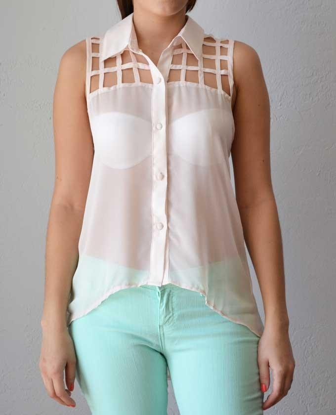 Trendy Clothing, Fashion Shoes, Women Accessories | Gretel Caged Blush Top | LoveShoppingMiami.com