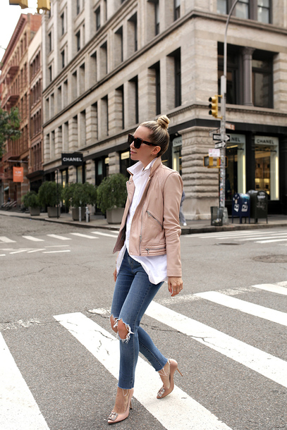 jacket tumblr nude jacket leather jacket shirt white shirt denim jeans blue jeans ripped jeans pumps pointed toe pumps high heel pumps shoes work outfits office outfits