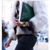 bag,crocodile,faux crocodile skin,emerald green,leather,clutch,fur,faux fur jacket,fur jacket,gold watch