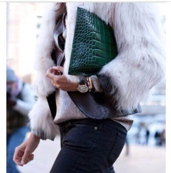bag clutch crocodile crocodile skin faux crocodile skin emerald emerald green leather fur faux fur jacket fur jacket gold watch