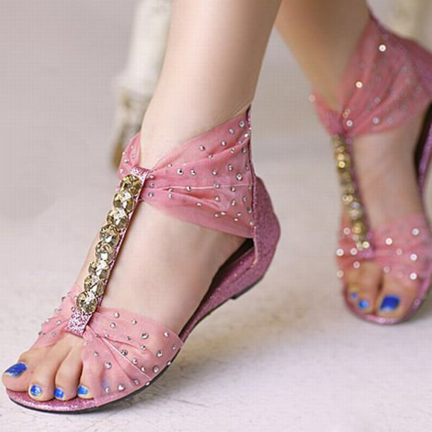 Shoes: pink, glitter, ribbon, rhinestones, t-strap, sparkle, girly ...