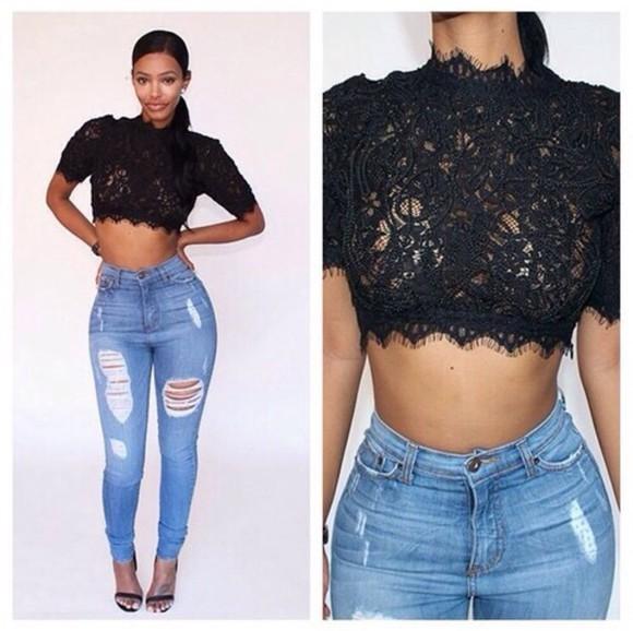 top black top lace crop top
