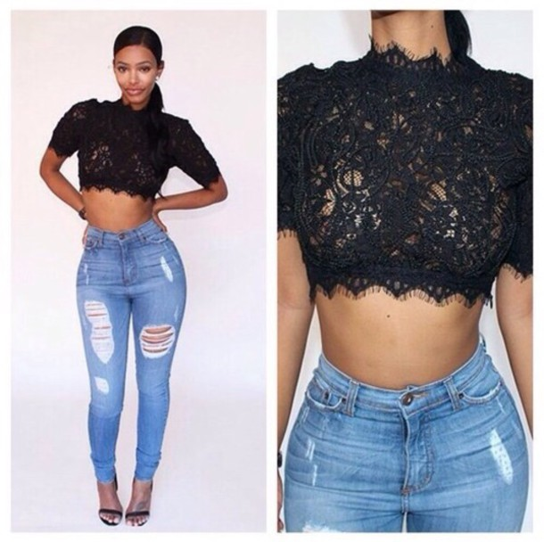 Top black top lace crop top pants high waisted jeans - Wheretoget