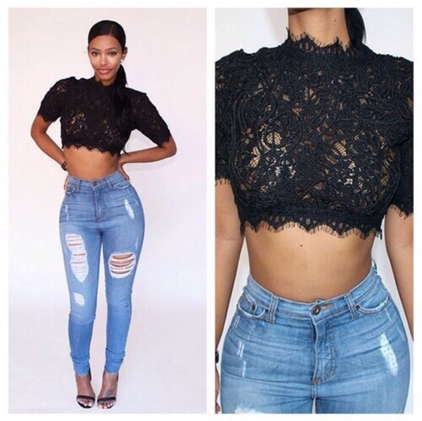 top black top lace crop top pants high waisted jeans