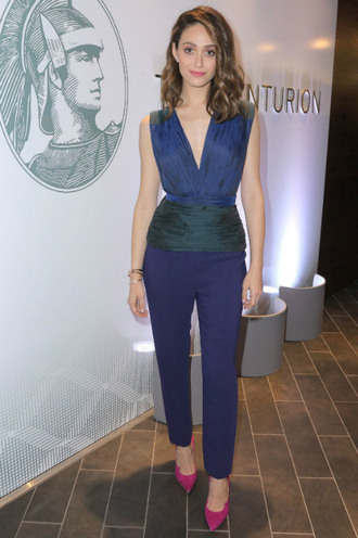 pants top plunge v neck emmy rossum pumps shoes