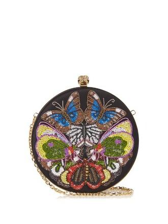 embellished clutch satin black bag