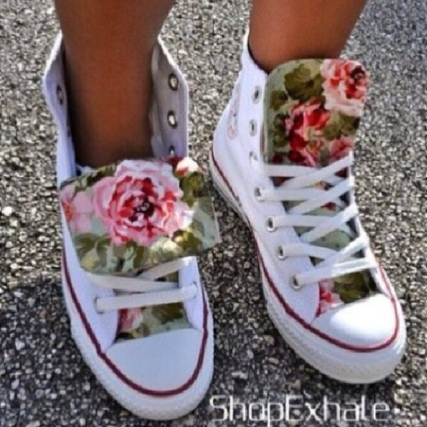 shoes high top converse flowers