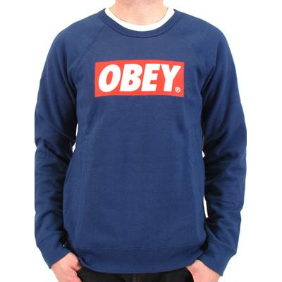 OBEY Sweater THE BOX CREW blue Obey Clothing Layup Online Shop