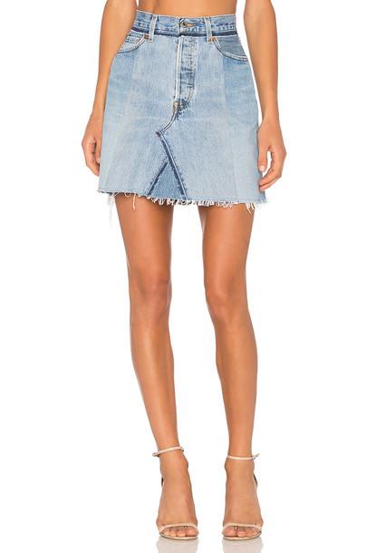 Re/Done skirt mini skirt mini high waisted high blue
