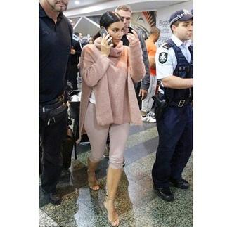 sweater kim kardashian tan nude top turtleneck taupe