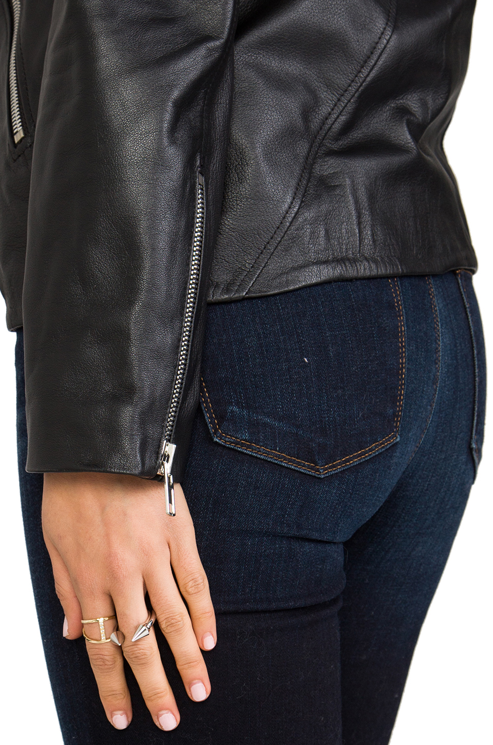 Luv AJ Leather Moto Jacket in Lambskin & Chrome | REVOLVE