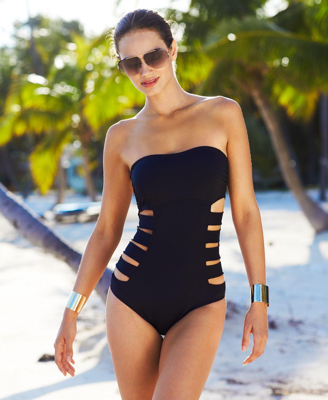 Reaction bandeau cutout one piece swimsuit swimwear women macy s