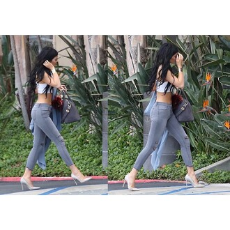 kylie jenner grey shoes pointed toe court shoes shoes gray shoes grey heels grey pointed toe heels jeans jewels