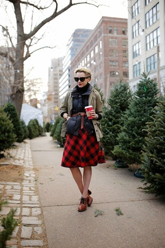 atlantic pacific blogger jacket sunglasses flannel midi skirt