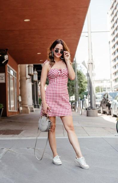 dress summer dress short dress sunglasses bag shoes bag red dress