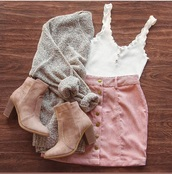 cardigan,beige cardigan,tank top,skirt,pink,button up,shoes,brown,booties,denim,corduroy,white,button down,sweater,grey