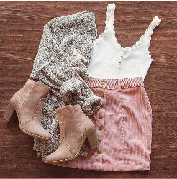 cardigan beige cardigan tank top skirt pink button up shoes brown booties denim corduroy white button down sweater grey