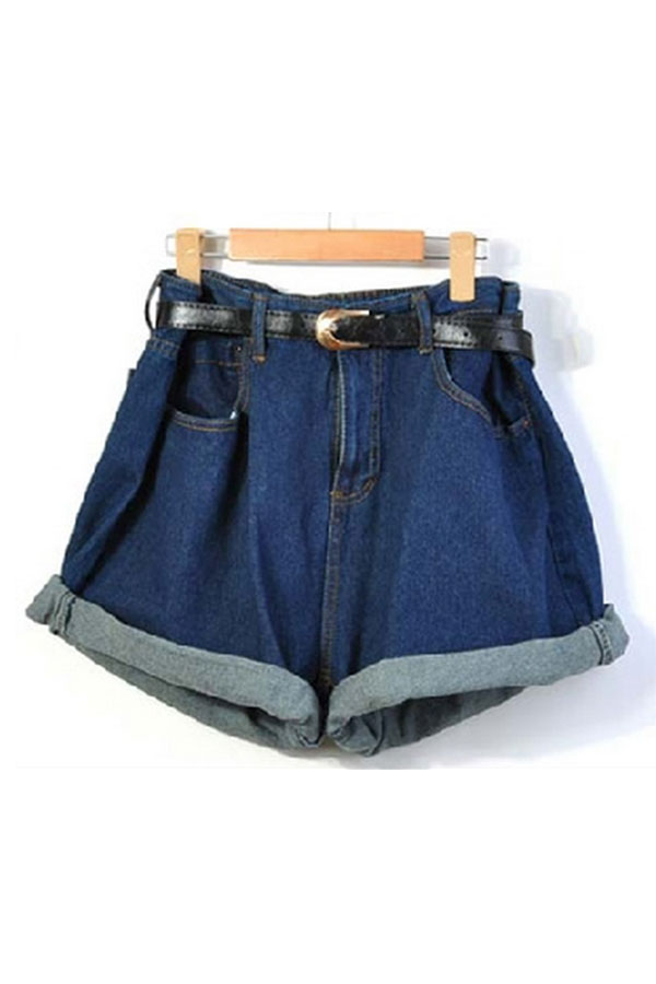 Relaxed High Waistline Jean Shorts with Waistband - OASAP.com