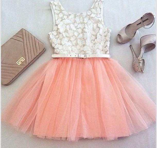 dress peach cute white
