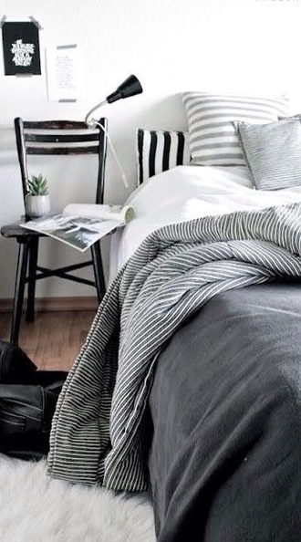 home accessory bedding bedroom hipster grey stripes classy