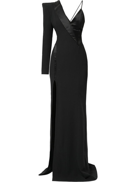 MUGLER gown women spandex black silk dress