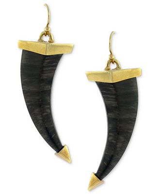 Vince Camuto Earrings, Gold-Tone and Jet Horn Drop Earrngs - Fashion Jewelry - Jewelry & Watches - Macy's