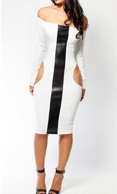 Off Shoulder Long Sleeve Cut Out Midi Dress