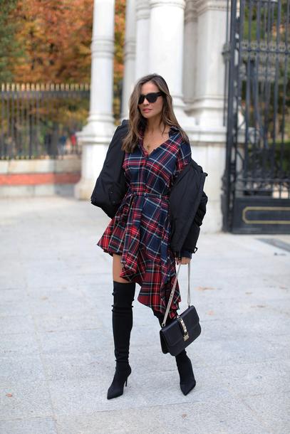dress tumblr asymmetrical asymmetrical dress tartan tartan dress jacket black jacket boots over the knee boots over the knee bag black bag