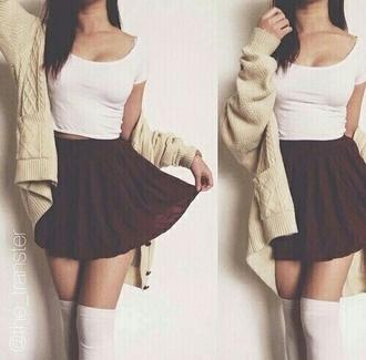 skirt high wasted skirts knee high socks cardigan