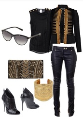 bag,balmain black&gold,jewels