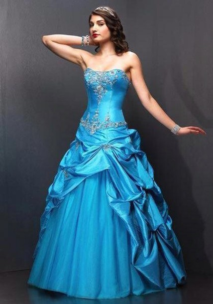 dress blue ball gown long prom dress blue dress quinceanera dress
