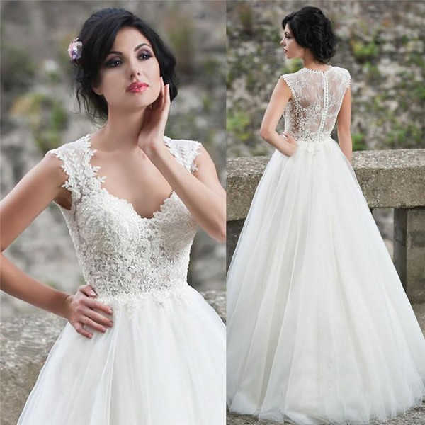 ivory beach vintage lace wedding gown – Fashion dresses