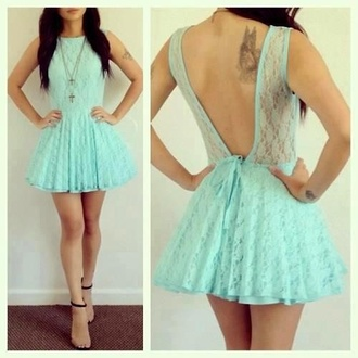 dress backless lace pretty open back mini dress gorgeous dress aqua blue pop couture jewels shoes skater pink dress pink summer cute cute dress blue dress weheartit lace dress skirt mesh mesh dress open back dresses blue lace dress back cut off pastel green backless dress mint skater dress