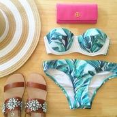 southern curls and pearls,blogger,palm tree print,bikini,wallet,tory burch,hat,top,swimwear,mothers day gift idea,green swimwear