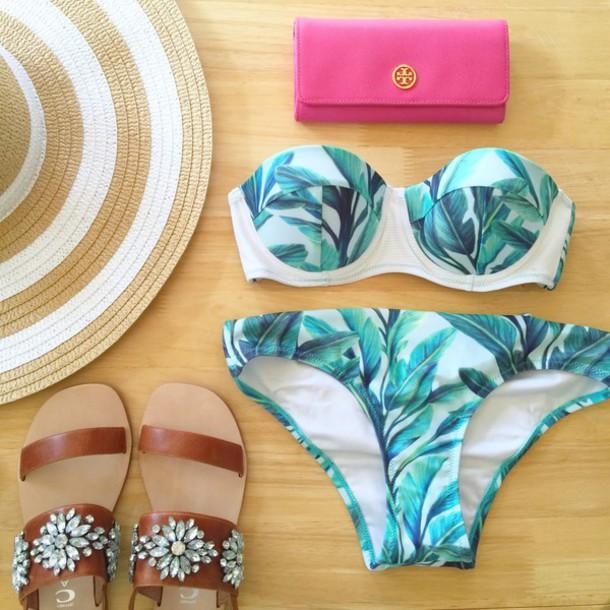 southern curls and pearls blogger palm tree print bikini wallet tory burch hat top swimwear mothers day gift idea green swimwear