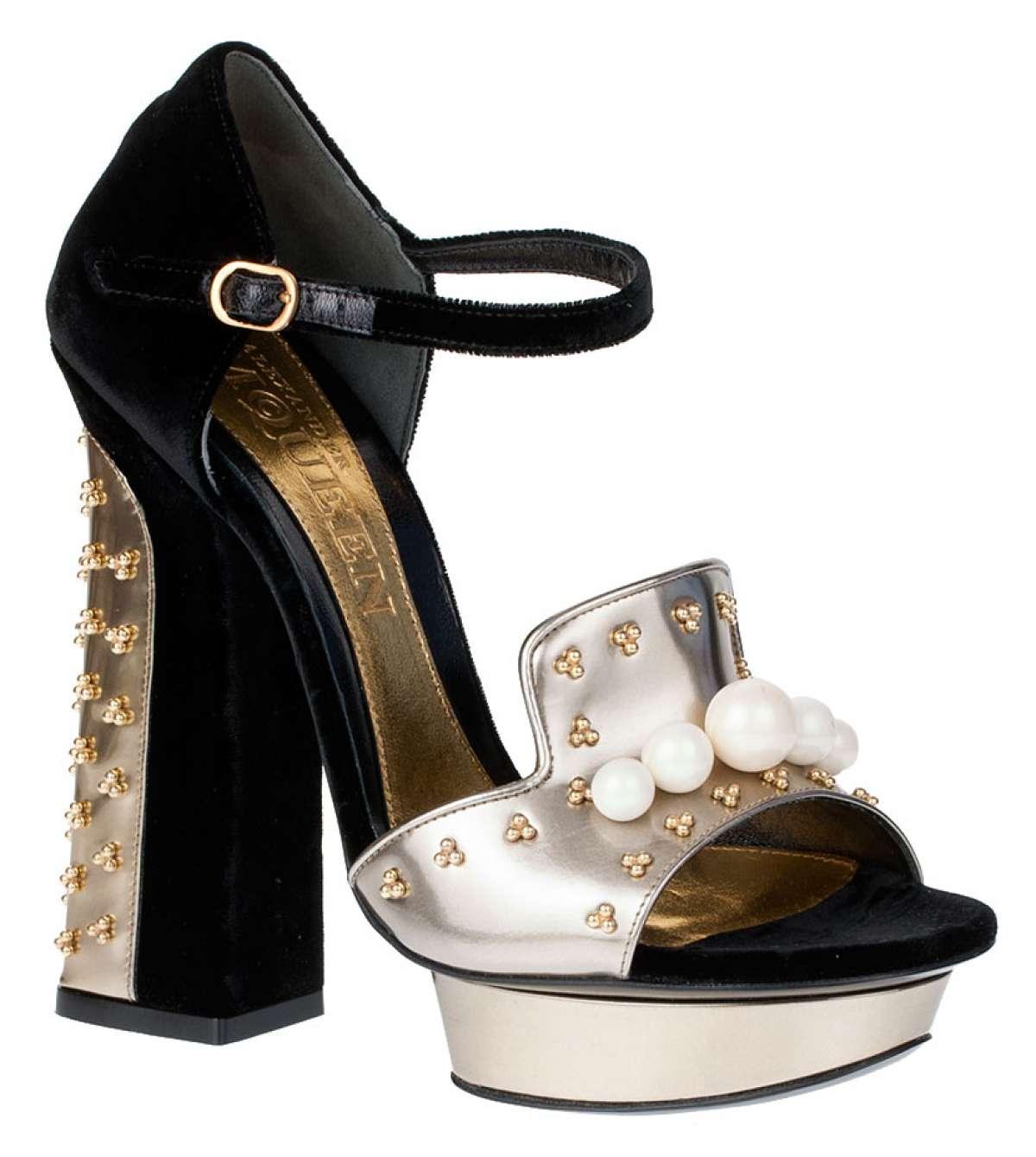 Embellished velvet and metallic leather sandals alexander mcqueen
