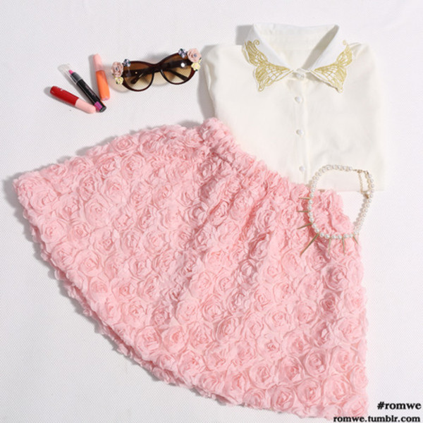 peach skirt jewels make-up button up blouse sunglasses dress