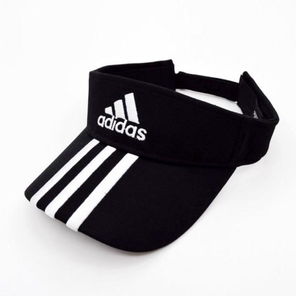 86146b5fa3 hat tennis fashion black cool summer adidas black and white style trendy  sportswear sporty boogzel