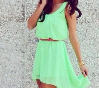 dress green mint dress red small belt long on the back short on the front cute