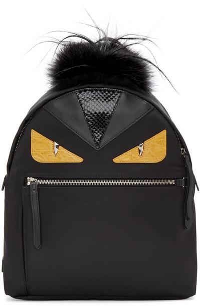 85eb23dc Fendi Black Nylon Eyes Medium Backpack