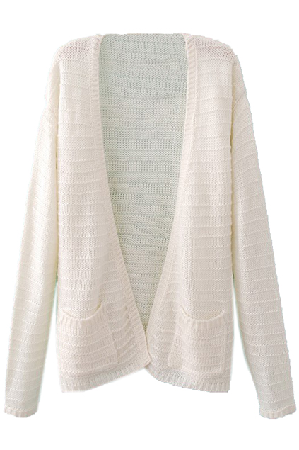 Buttonless Pocketed Sheer White Cardigan, The Latest Street Fashion