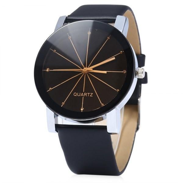 Rosewholesale Men Quartz Watch Line Dial Leather Band in black