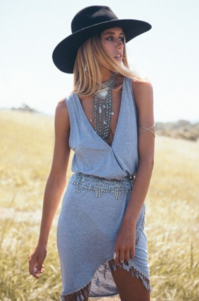 jewels statement necklace black hat belt dress summer dress grey dress trendy boho jewelry