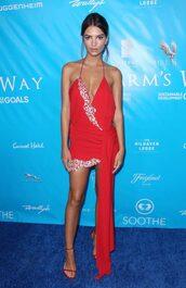 dress,red dress,prom dress,sandals,model,emily ratajkowski,summer dress,sexy dress,plunge dress,shoes,backless dress,backless,asymmetrical dress