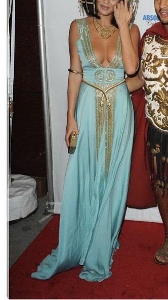 dress cleopatra aqua chrissy teigen v neck egyptian embellished