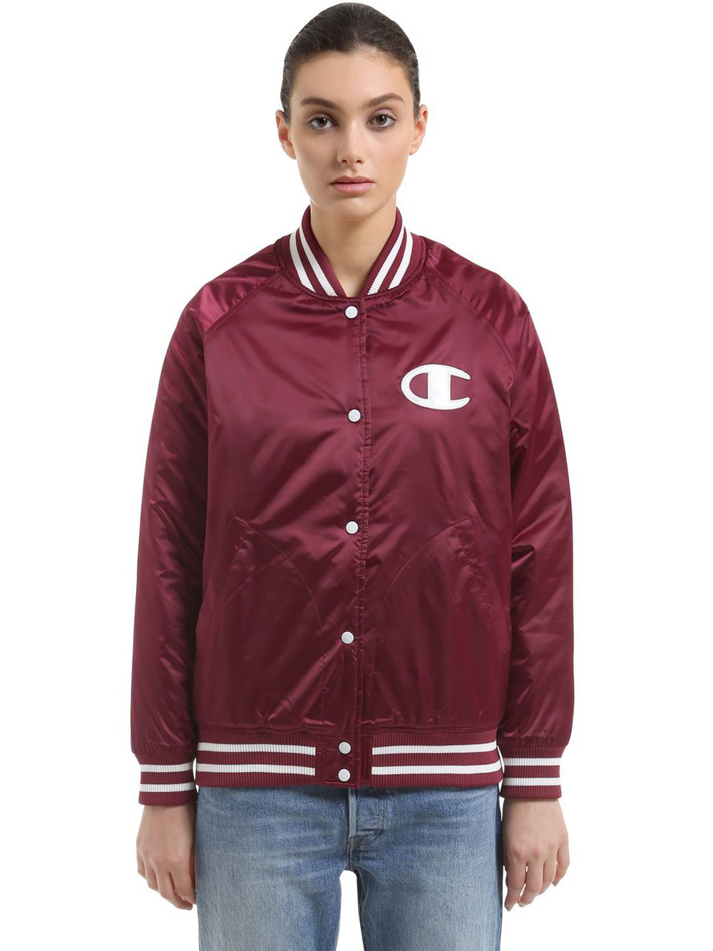 CHAMPION Logo Detail Padded Nylon Bomber Jacket