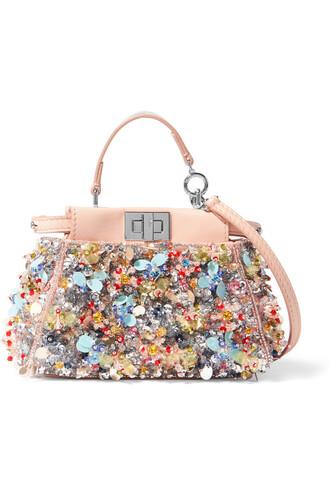 embellished bag shoulder bag satin metallic pink
